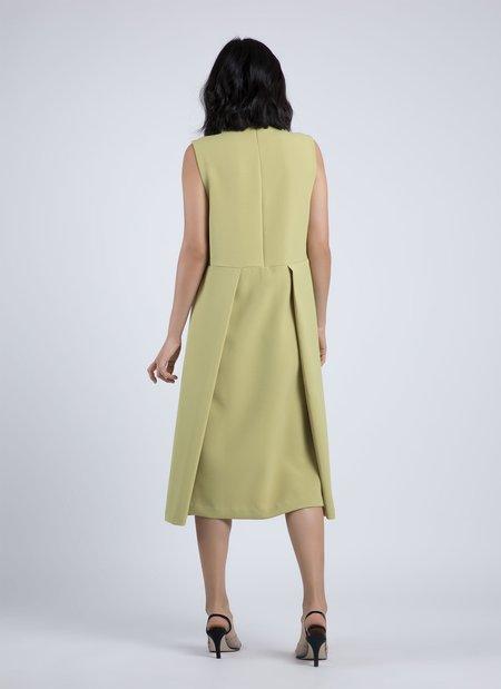 Kaarem Skywave Sleeveless Back Pleat Slit Dress - Avocado