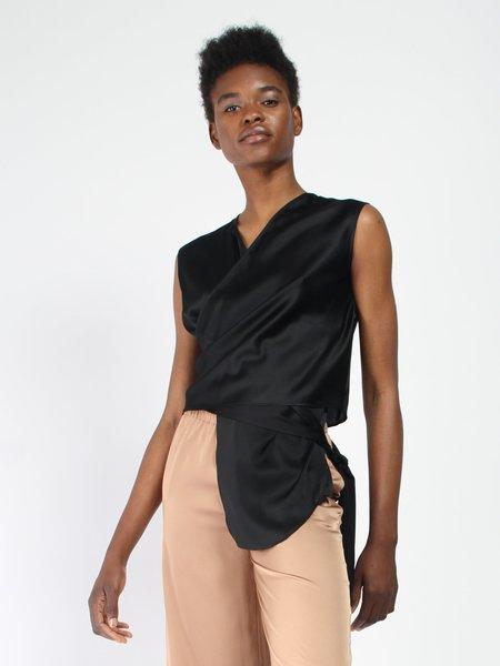 Index Series Lyonnaise Wrap Tie Top - Black