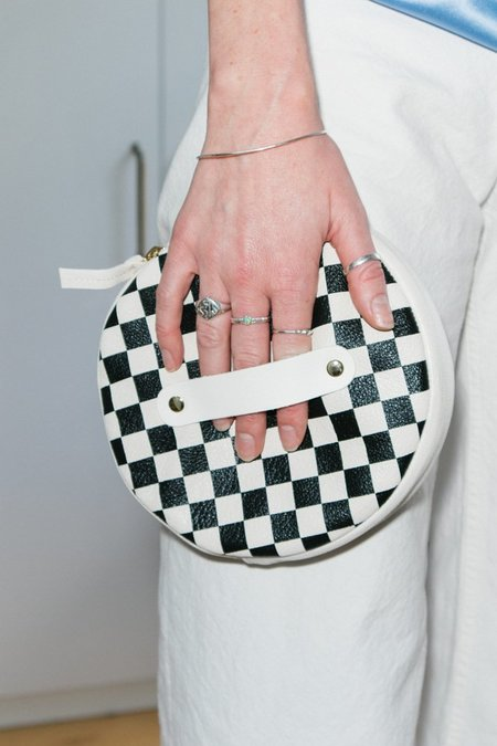 Clare V. Circle Wallet Clutch - Black Checkered