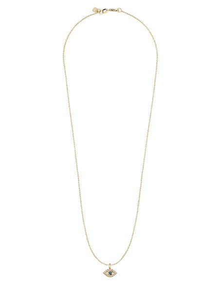 Sydney Evan 14K Diamond and Sapphire Evil Eye Necklace