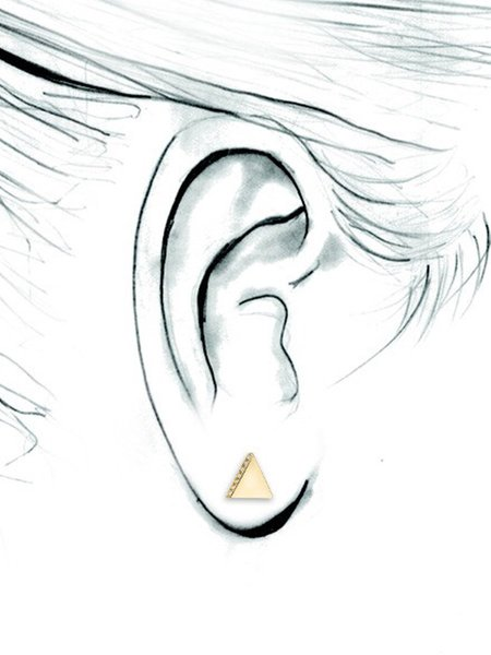 SMITH + MARA Single Triangle Stud - 14K Diamond