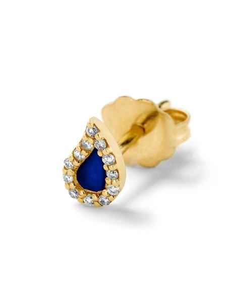 ALISON LOU Diamond Teardrop Stud - COBALT BLUE