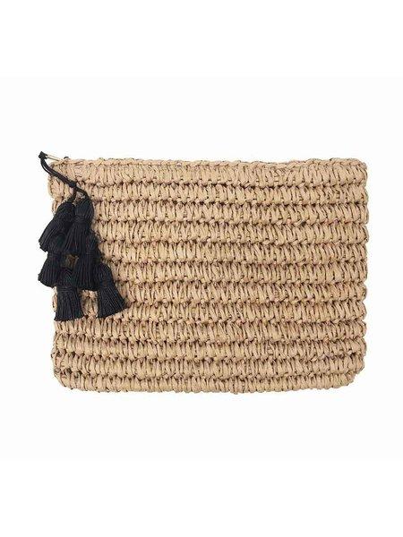 FALLON & ROYCE Gigi Black Tassel Straw Clutch - NATURAL/BLACK TASSLE