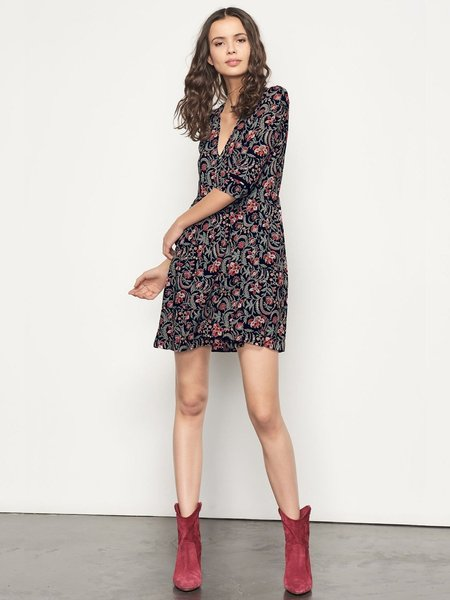 Ba&sh Haley Floral Mini Dress - Noir