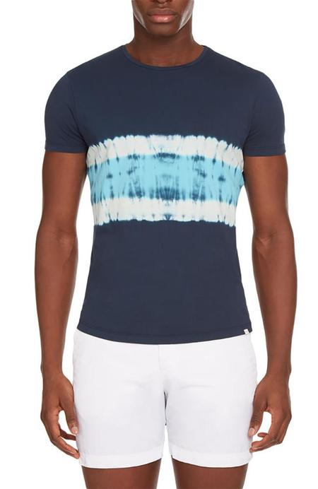 Orlebar Brown OB-Tie Dye Tailored Fit Crew Neck T-Shirt - NAVY/AZURE