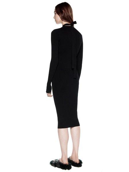 Dion Lee Placket Tie Long Sleeve Dress - BLACK