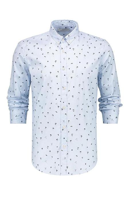 THE GOODPEOPLE Sunset Print Oxford Shirt - Light Blue
