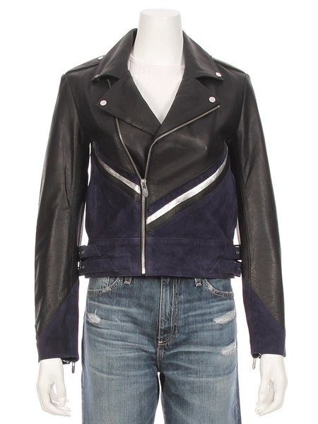 THE MIGHTY COMPANY The Champagne Leather Suede Moto Jacket - Black/Navy
