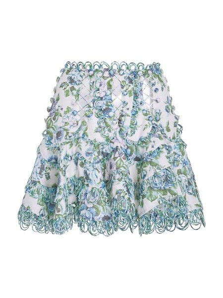 Zimmermann Whitewave Lace Flip Skirt - AZURE WALLPAPER