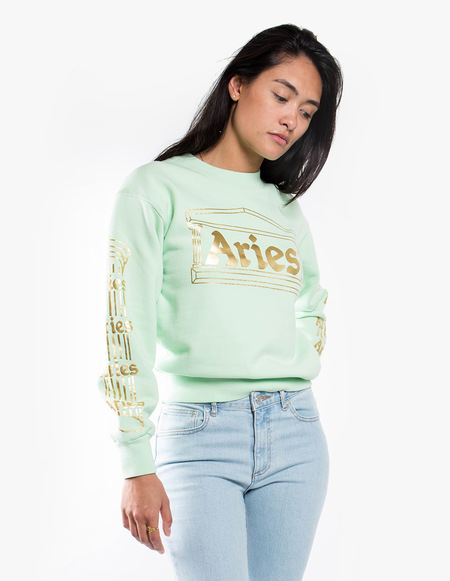 Aries Arise Crew Sweatshirt Temple - Aqua Gold