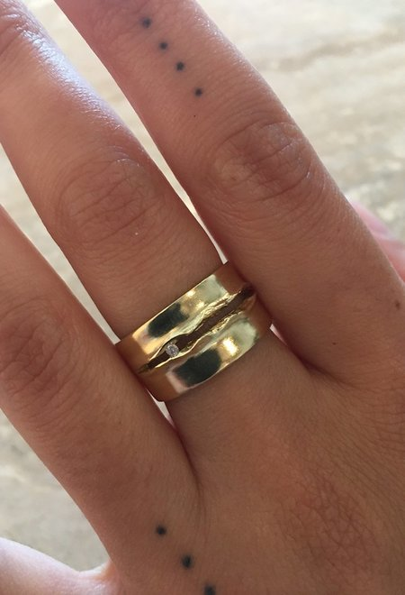 Wasson Fine Moon Tear Ring - Gold