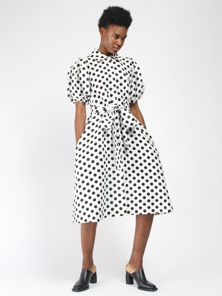 Lisa Marie Fernandez Pouf Linen Shirt Dress - Polka Dot