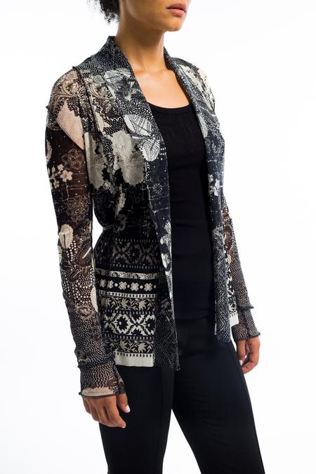 Fuzzi batik floral tie cardigan - Black