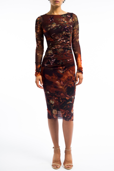 Fuzzi ruched dress - swallows print