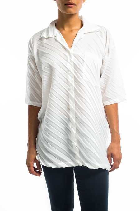 Issey Miyake Pleats Please button down bias pleats - white