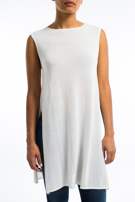 Sarah Pacini sleeveless cotton tunic top- white