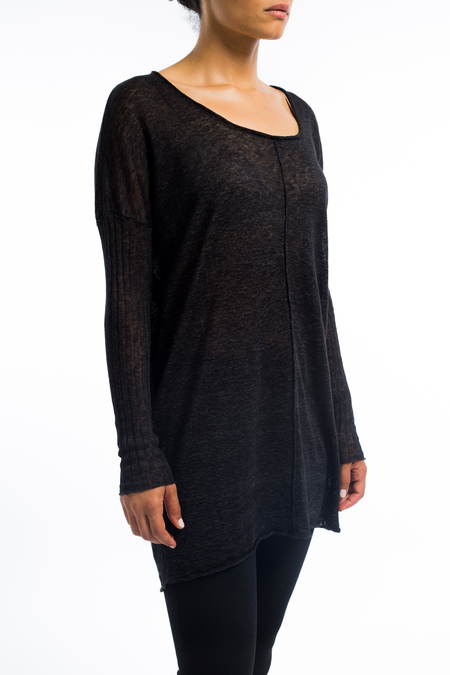 Transit scoop neck linen long sleeve sweater - charcoal