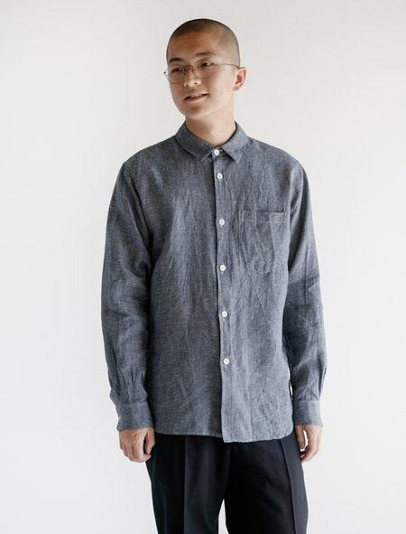 Margaret Howell Minimal Graph Check Linen Shirt - Navy/White
