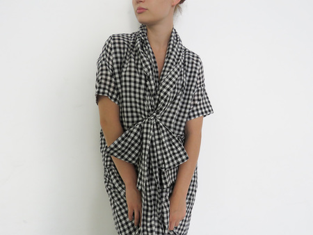 CARON CALLAHAN JULIEN TOP - BLACK GINGHAM