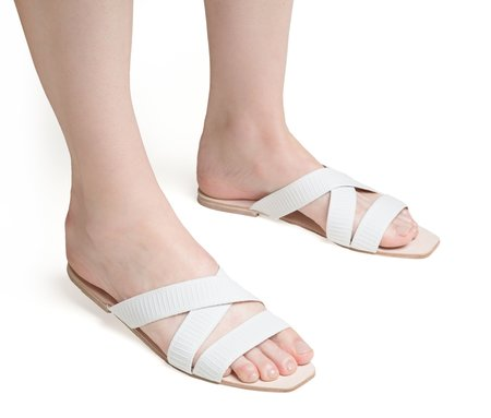 The Palatines thyia elasticized cross band slide sandal - white