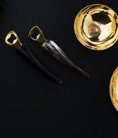 Rose & Fitzgerald Ankole Horn & Pure Brass Bottle Opener