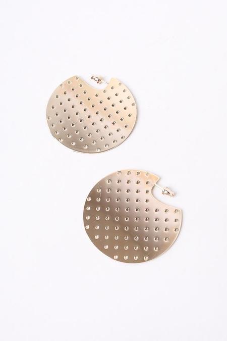 Minoux Perforated Hoop Earrings - Bronze