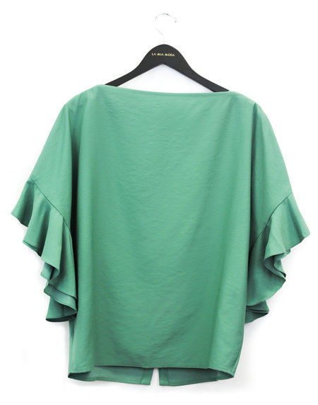 Aeron Back Button Frilled Sleeve Top