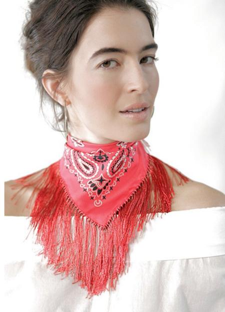 Mona Sultan Flare for Fringe Bandanna - Red
