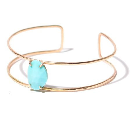 Alexis Russell Rose Cut Turquoise Cage Cuff Bracelet