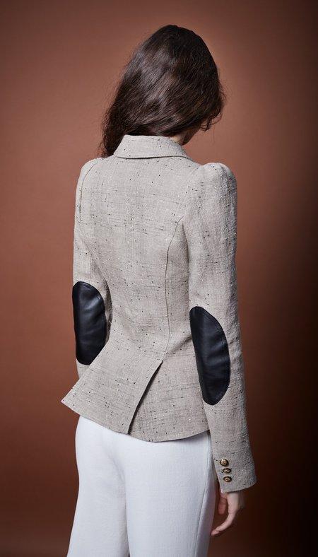 Smythe Pouf Sleeve One Button Blazer - Stone/Black Leather