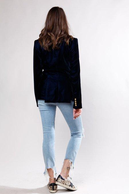 Smythe Velvet Peaked Lapel Blazer - Sapphire