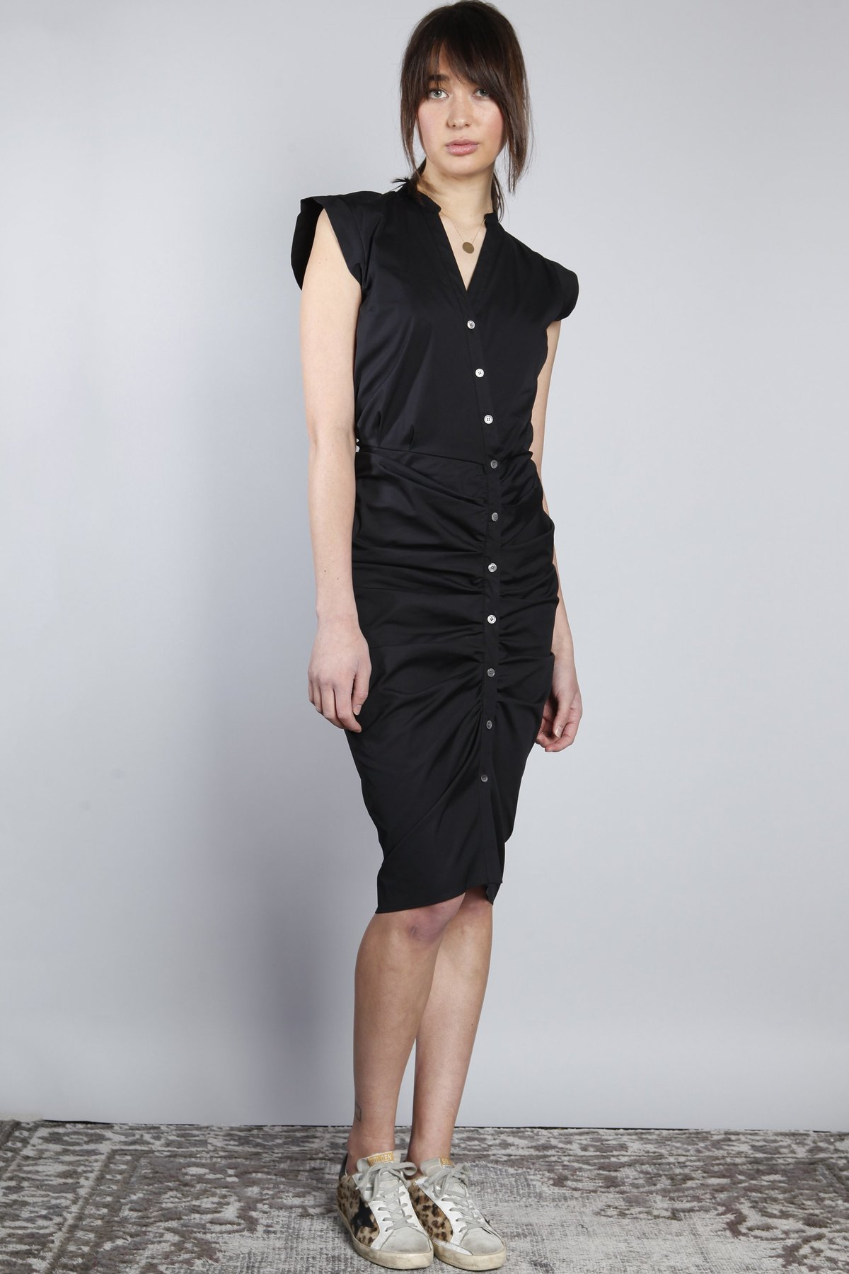 Veronica Beard Ruched Shirt Dress Black Garmentory