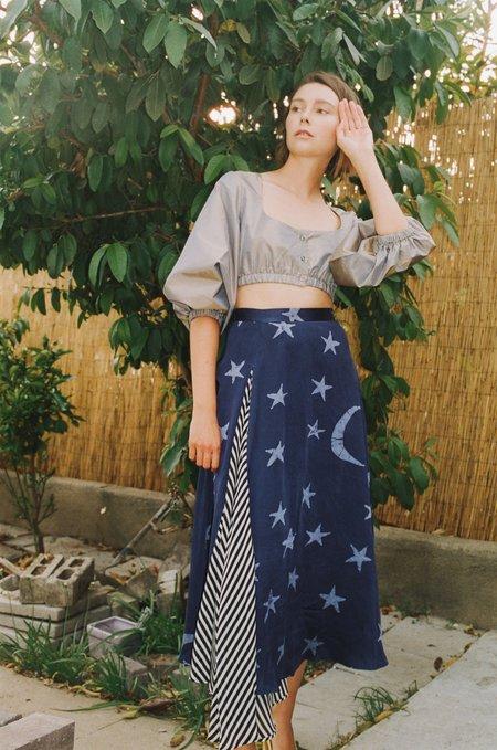 "Maki Oh Silk Charmeuse ""By Moonlight"" Contrast Full Circle Skirt"