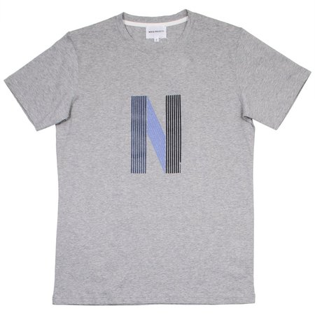 Norse Projects Niels Layer Logo T-shirt - Light Grey Melange