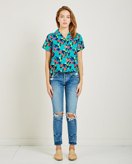 Obey Ashed Out Shirt - Teal Multi