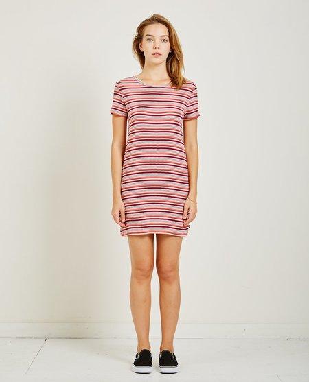 Obey Freeman Dress - Coral Multi Stripe