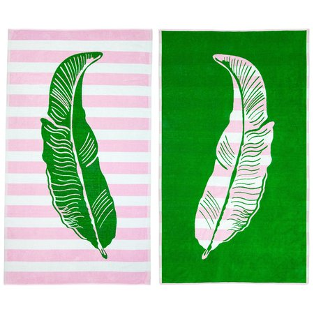 AR321 FOR BIDWELL DOUBLE-SIDED JACQUARD TOWEL - PINK/GREEN