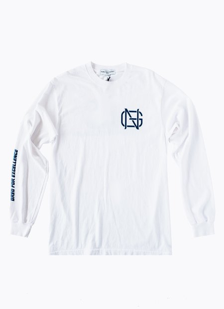 Noble Gentlemen Brand Bred for Excellence Long Sleeve T-shirt - White