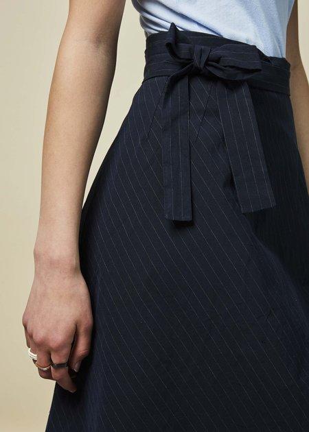 Sibel Saral Ayosh Wrap Skirt - Navy Pinstripe