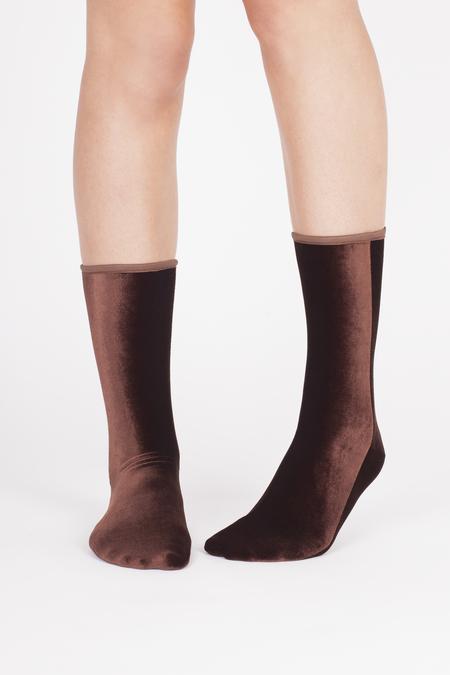 VELVET SOCK'S by SIMONE WILD SET of 2 pairs Ankle Velvet Sock's - NUT & LIGHT PINK