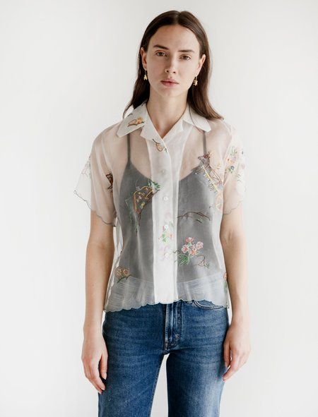 Bode Taffeta Camp Shirt - Mountain Scene