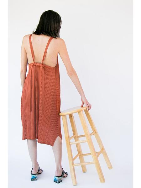 Issey Miyake V-Neck Open Back Dress - Amber