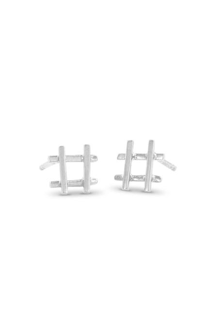Enji Silver Hashtag Earrings