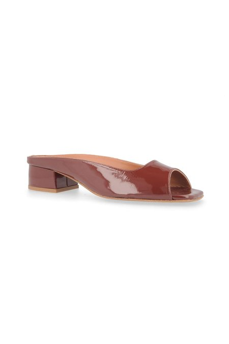 By Far Irina Mules - Brown Patent Leather