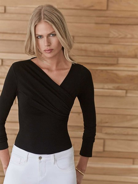 L'agence Karlie Faux Wrap Long Sleeve Top