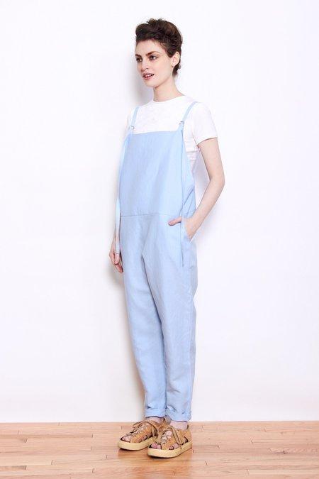 Baserange Linen/Cotton Long Strap Overall - Detian Blue