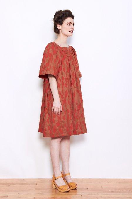 WHiT Mira Dress - Red/Brown