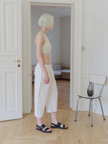Priory Bow Pant - Stretch Poplin White