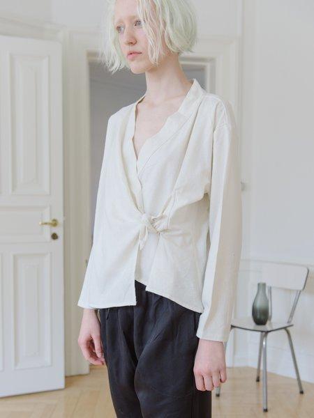 Priory Shop Fin Top - Raw Silk White