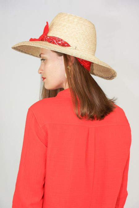 Lola Ehrlich Hat in Wind Sock - Natural and Red